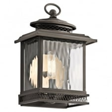 vintage outdoor porch lantern in bronze with ripple effect glass