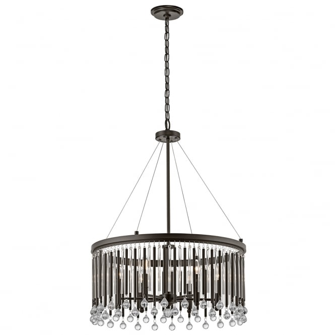 PIPER 6 light decorative glass rod chandelier