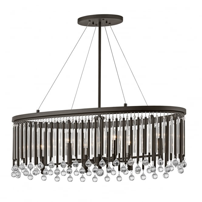 PIPER 6 light decorative glass rod island chandelier
