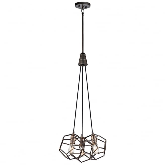 ROCKLYN geometric frame 3 light cluster pendant in raw steel finish