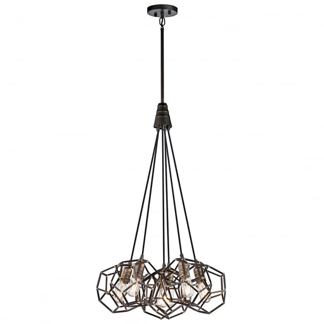 ROCKLYN geometric frame 6 light cluster pendant in raw steel finish