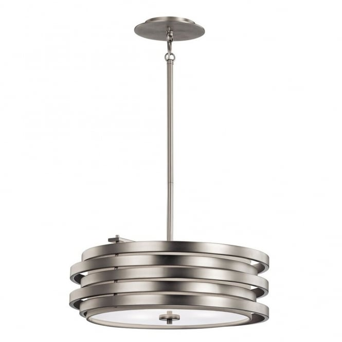 New York Lighting Collection ROSWELL contemporary brushed nickel ceiling pendant with stacked offset ring shade (wide)