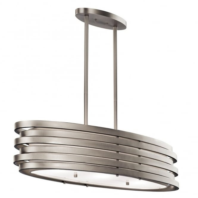 New York Lighting Collection ROSWELL contemporary brushed nickel oval island pendant with stacked offset ring shade