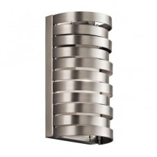 contemporary brushed nickel wall light with stacked ring design