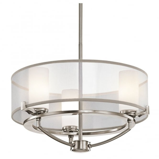 New York Lighting Collection SALDANA contemporary 3lt chandelier in pewter finish with organza surround shade & opal glass inners