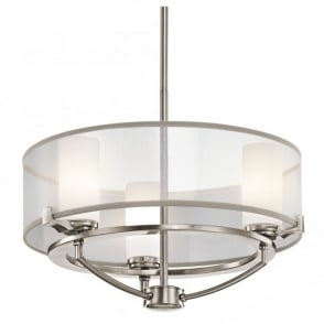 Contemporary 8 light oval pendant chandelier in pewter finish w shade contemporary 3 light dual mount pendant in pewter with surround shade aloadofball Images