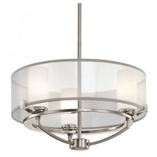 contemporary 3 light dual mount pendant in pewter with surround shade