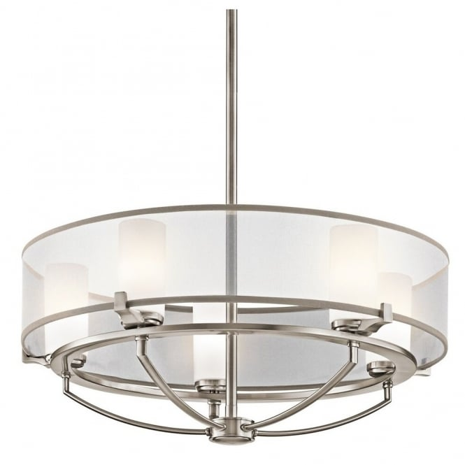 New York Lighting Collection SALDANA contemporary 5lt chandelier in pewter finish with organza surround shade & opal glass inners