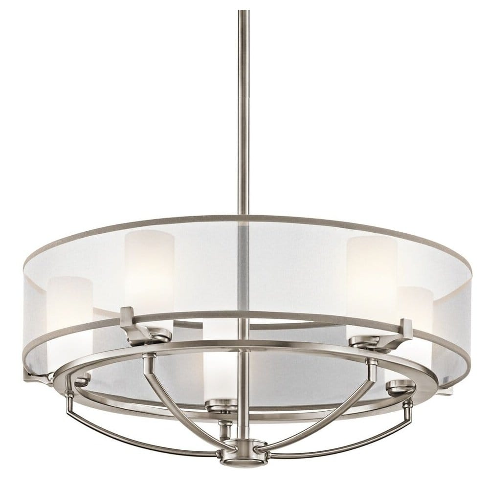 Contemporary 5 Light Pendant Chandelier In Pewter Finish