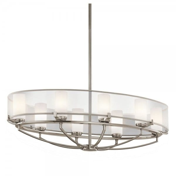 Contemporary 8 Light Oval Pendant Chandelier In Pewter