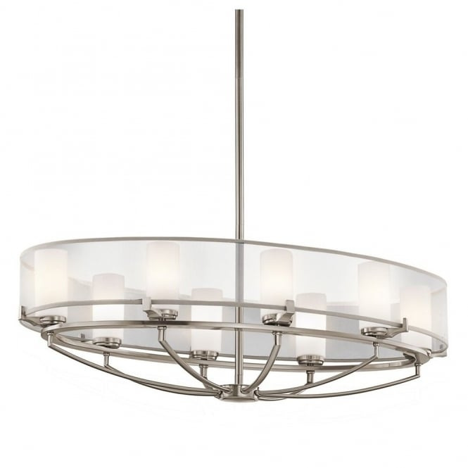 Contemporary 8 light oval pendant chandelier in pewter finish w shade contemporary 8 light over table pendant chandelier in pewter with surround shade aloadofball Images