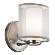 modern pewter wall light with organza shade and opal glass inner shade