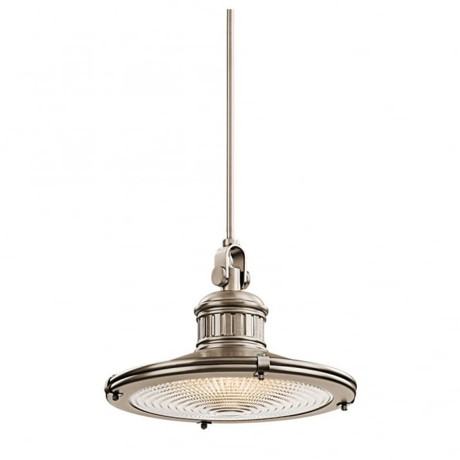 SAYRE vintage coastal style ceiling pendant in antique pewter with prismatic diffuser (large)