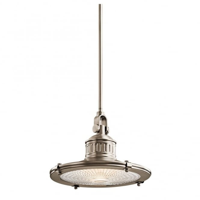 New York Lighting Collection SAYRE vintage coastal style ceiling pendant in antique pewter with prismatic diffuser (medium)