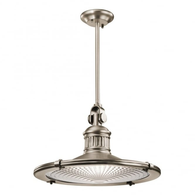 SAYRE vintage coastal style ceiling pendant in antique pewter with prismatic diffuser (x-large)
