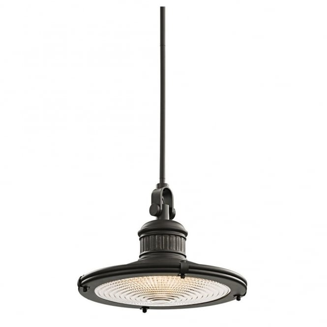 New York Lighting Collection SAYRE vintage coastal style ceiling pendant in old bronze with prismatic diffuser (large)