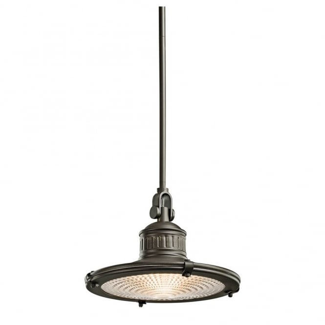 SAYRE vintage coastal style ceiling pendant in old bronze with prismatic diffuser (medium)