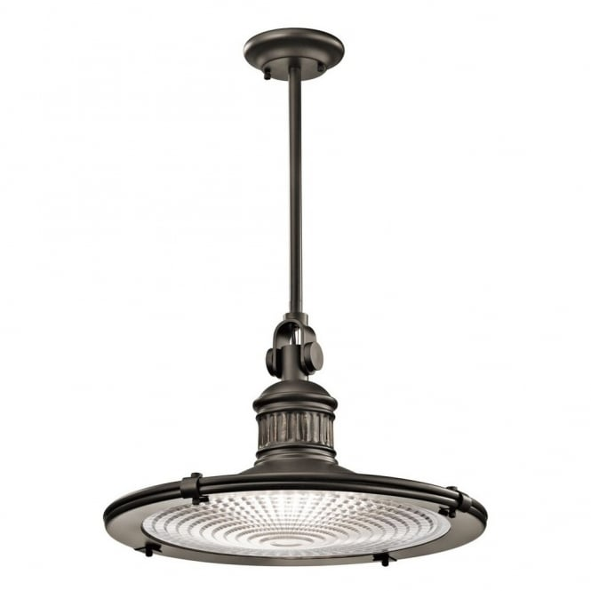New York Lighting Collection SAYRE vintage coastal style ceiling pendant in old bronze with prismatic diffuser (x-large)