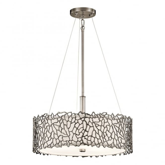 New York Lighting Collection SILVER CORAL delicate patterned dual mount pendant in pewter with glass diffuser
