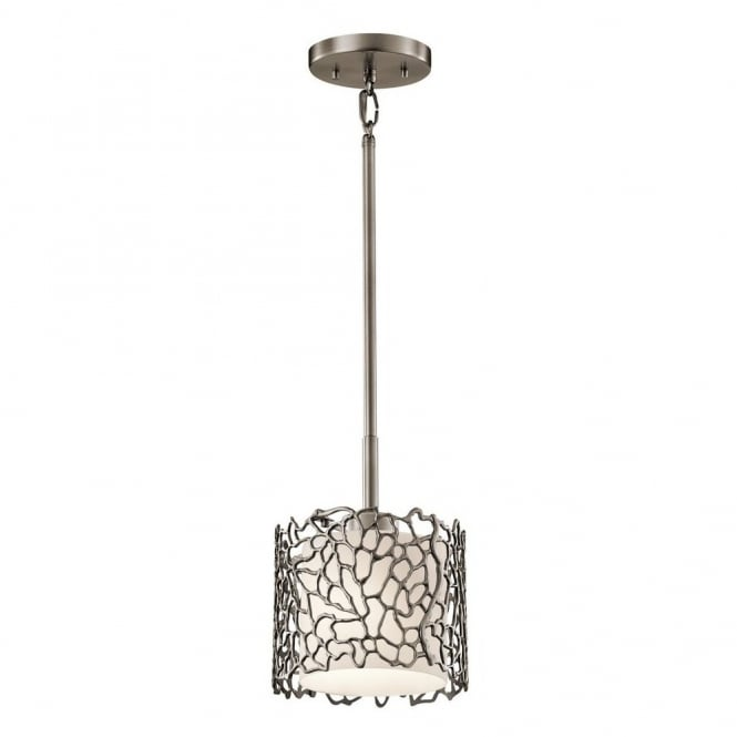 New York Lighting Collection SILVER CORAL delicate patterned mini pendant light in pewter with glass diffuser