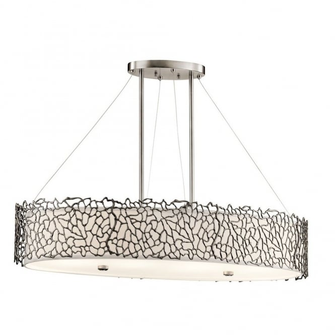 New York Lighting Collection SILVER CORAL delicate patterned oval island pendant light in pewter with glass diffuser