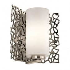 coral pattern wall light in pewter with opal glass shade