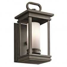modern classic rubbed bronze lantern with opal glass tube shade