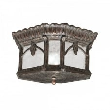 ornate Gothic door canopy light in matt bronze with seeded glass panels