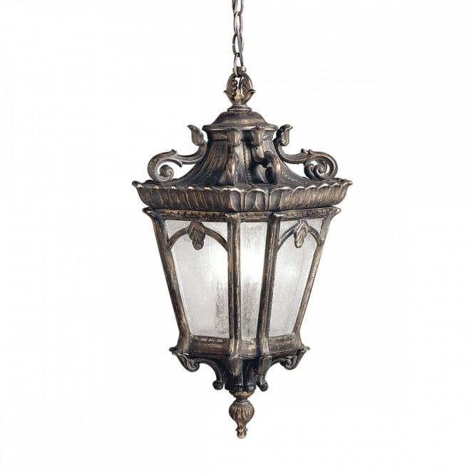 Ornate Gothic Hanging Lantern For Exterior Use, Matt Bronze With Seeded  Glass