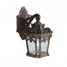 ornate Gothic wall lantern for exterior use, matt bronze with seeded glass