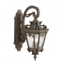 Ornate Gothic Wall Lantern For Exterior Use Matt Bronze With Seeded Glass
