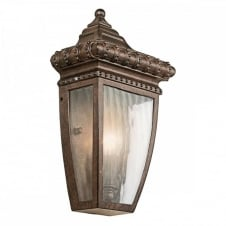 ornate exterior half wall lantern in bronze with rain effect glass panels