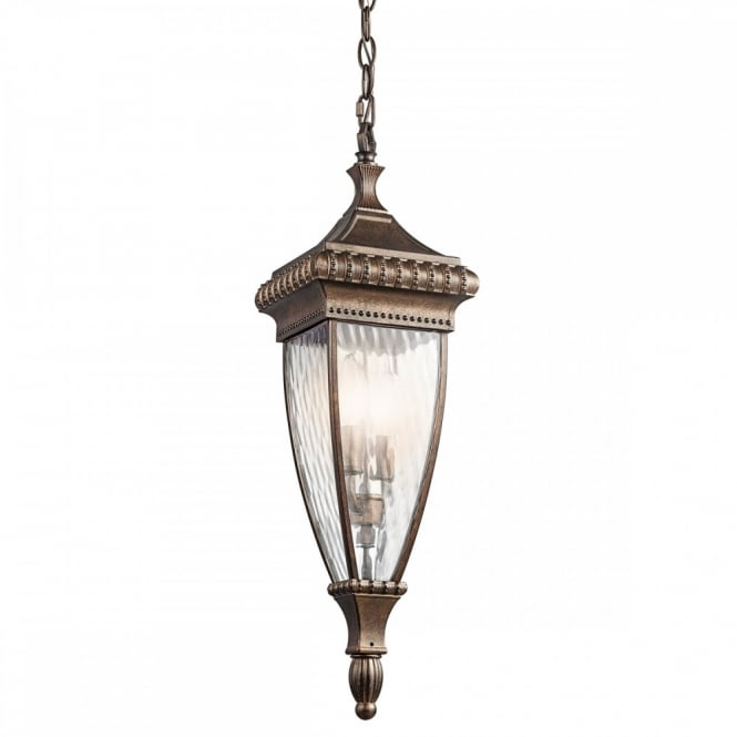 New York Lighting Collection VENETIAN RAIN decorative porch hanging chain lantern in bronze with rain effect glass