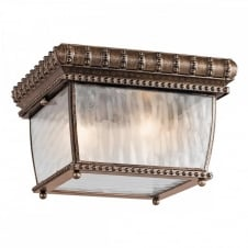 ornate flush exterior light in bronze with rain effect glass