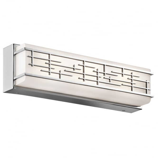 New York Lighting Collection ZOLON linear geometric chrome LED bathroom wall light (medium)
