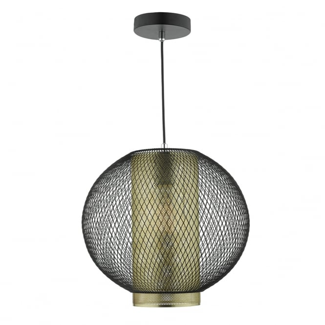 NIELLO matte black and brass mesh ceiling pendant