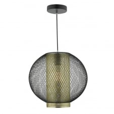 matte black and brass mesh ceiling pendant light