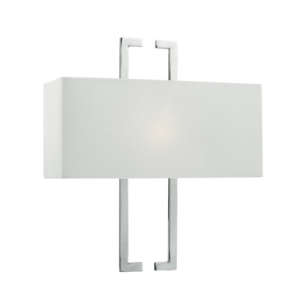 NILE contemporary polished chrome wall light with shade