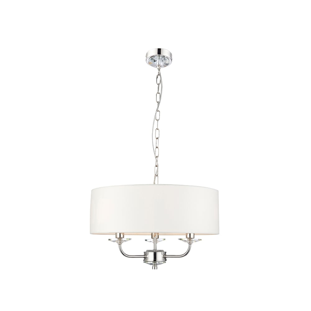 Contemporary 3 light nickel ceiling pendant with white surround shade 3 light nickel ceiling pendant with white surround shade aloadofball Choice Image