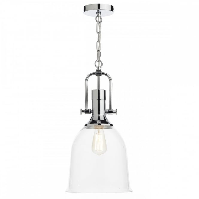 Industrial Design Ceiling Pendant In Chrome With Glass Shade Class 2