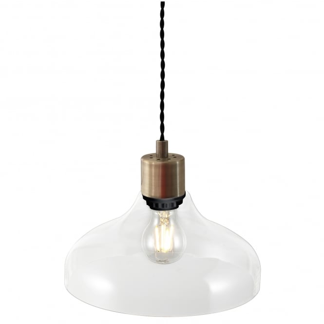 Nordlux ALRUN modern clear glass pendant with brass suspension