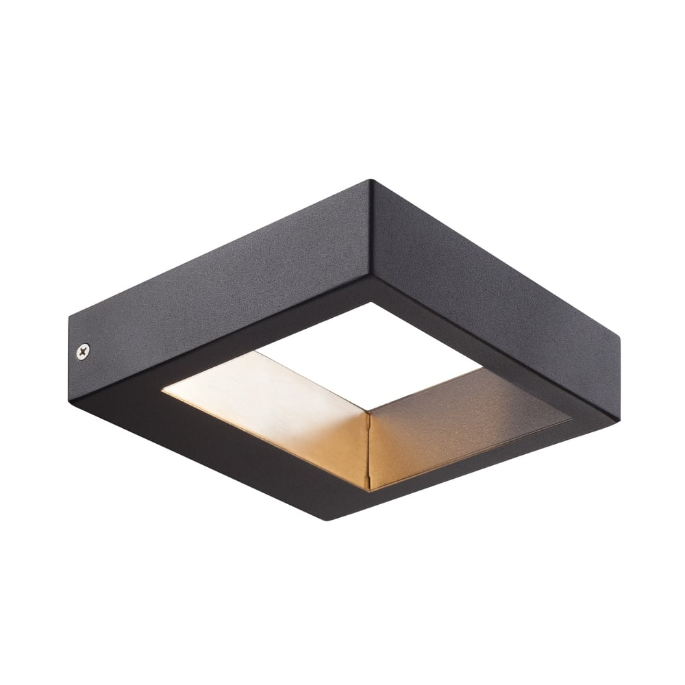 Modern Squared LED Exterior Wall Light in Black Lacquered Finish