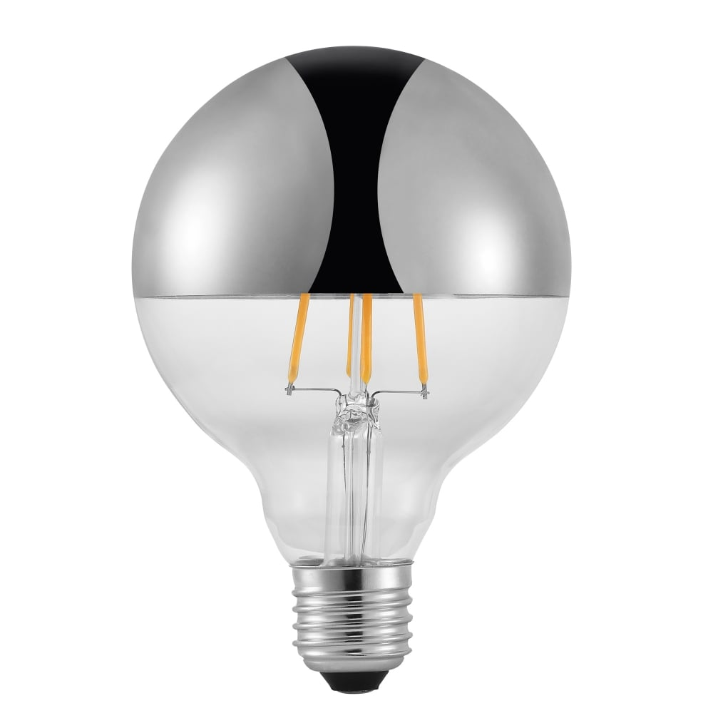 led globe bulb with mirrored top e27 es 2 watt. Black Bedroom Furniture Sets. Home Design Ideas
