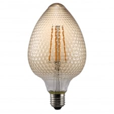 LED gold textured glass nut shaped bulb