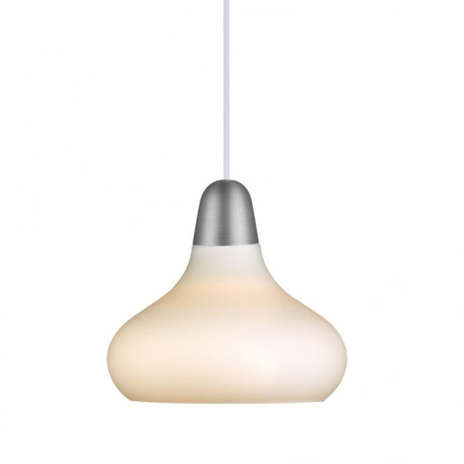 Nordlux BLOOM 21 opal white glass ceiling pendant with copper & brushed steel decals