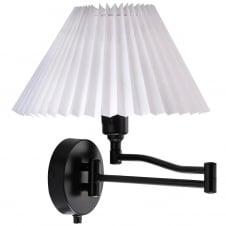 black swing arm wall light with white shade