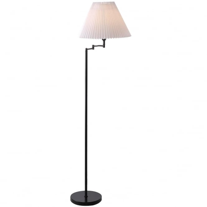 BREAK swing arm floor lamp in black with pleated shade