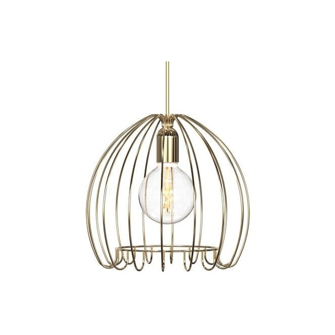 Nordlux CAGE design ceiling pendant in a brass finish