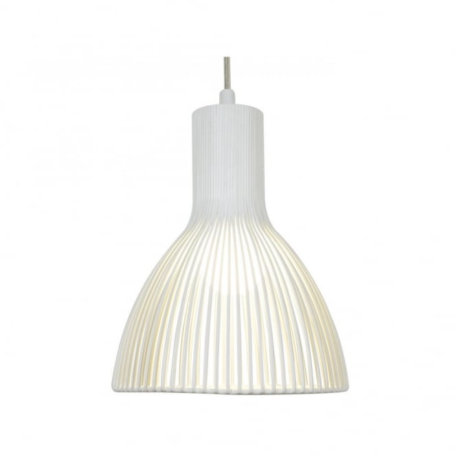 Single White Metal Ceiling Pendant Light Doble Insulated