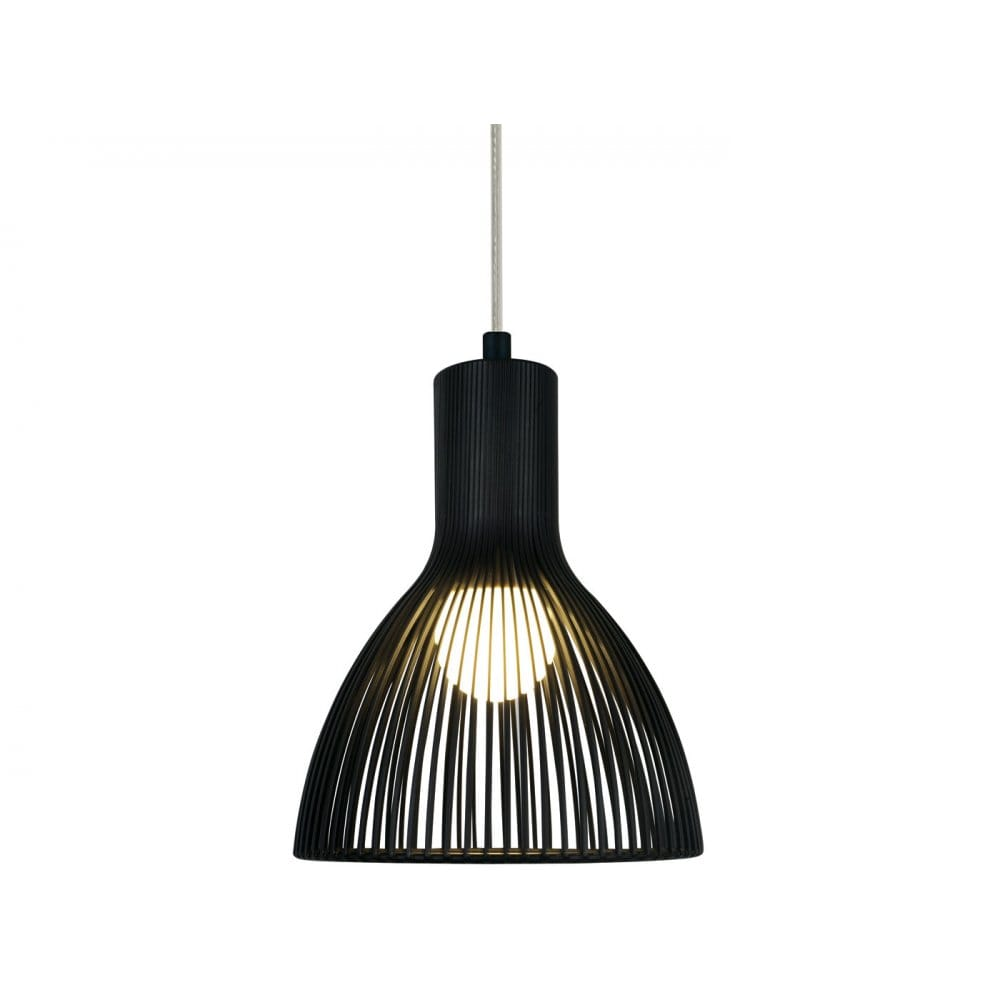 Modern black ceiling pendant light in cage design for Pendant lighting for high ceilings